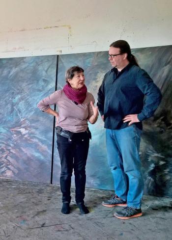 Hartwig Knack und Linde Waber im Atelier